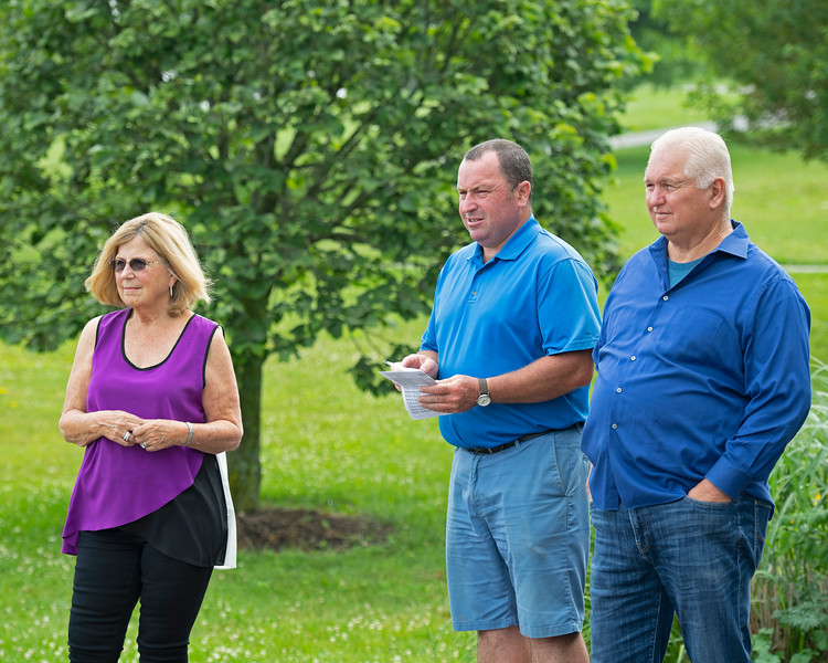 Caption: (L-R): Susan Searing, Springhouse farm manager Dermot Joyce, Lee Searing<br /> Lee and Susan Searing look over their bloodstock (mares, foals, yearlings) at Springhouse Farm near Nicholasville, Ky., on June 22, 2020 Springhouse Farm in Nicholasville, KY.
