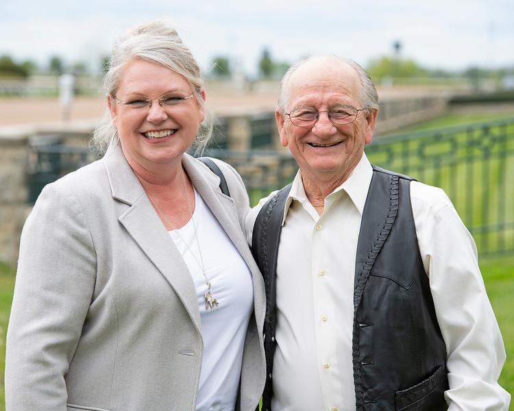 Caption: Kitty and Mike Manganello<br /> Former jockey Mike Manganello, who rode 1970 Kentucky Derby (G1) winner and Blue Grass Stakes winner Dust Commander at Keeneland near Lexington, Ky.,  on April 24, 2020 Dixiana in Lexington, KY.