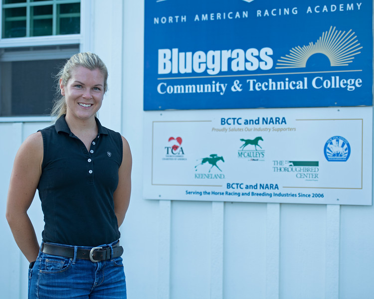 Caption: (L-R): Amy Heitzman, barn manager and instructor<br /> BCTC equine school and NARA in Lexington, Ky., and Thoroughbred Training Center, on July 6, 2020 BCTC in Lexington, KY.