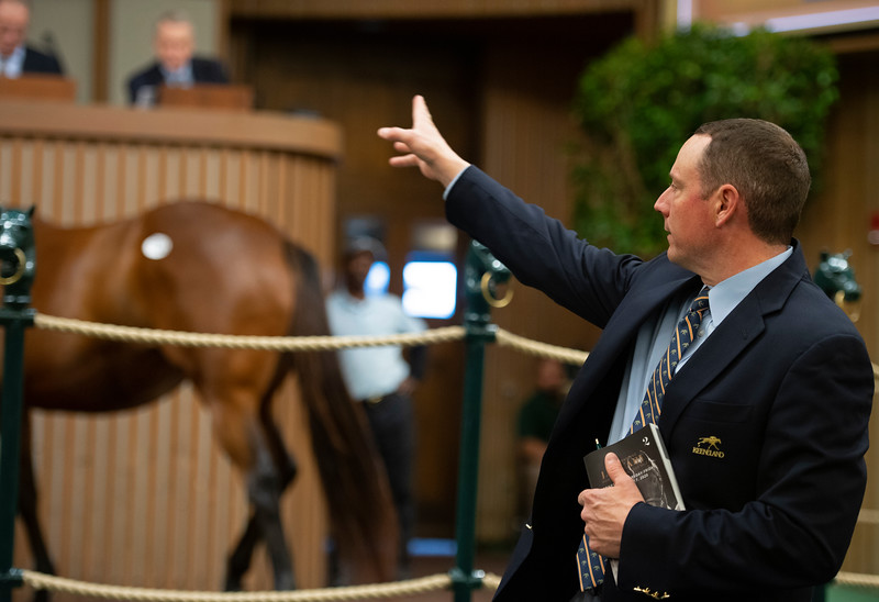 Bidspotter Jesse Bolin<br /> Keeneland January Horses of all ages sales on<br /> Jan. 15, 2020 Keeneland in Lexington, KY.