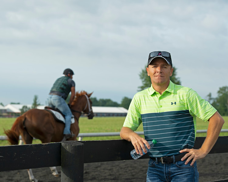 Caption: Tommy Drury Jr., <br /> Bruce Lunsford at Skylight Training Center with his horse Art Collector and trainer Tommy Drury on Aug. 12, 2020 Skylight Training Center in Prospect, KY.