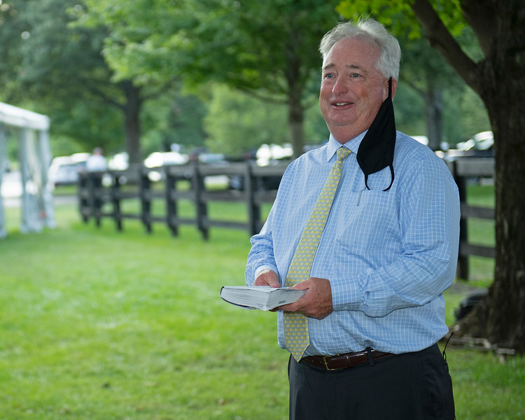 Boyd Browning talks to media<br /> Fasig-Tipton Selected Yearlings Showcase in Lexington, KY on September 10, 2020.