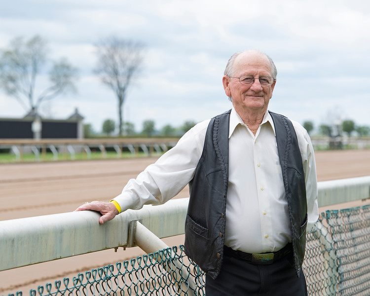 Caption:<br /> Former jockey Mike Manganello, who rode 1970 Kentucky Derby (G1) winner and Blue Grass Stakes winner Dust Commander at Keeneland near Lexington, Ky.,  on April 24, 2020 Dixiana in Lexington, KY.