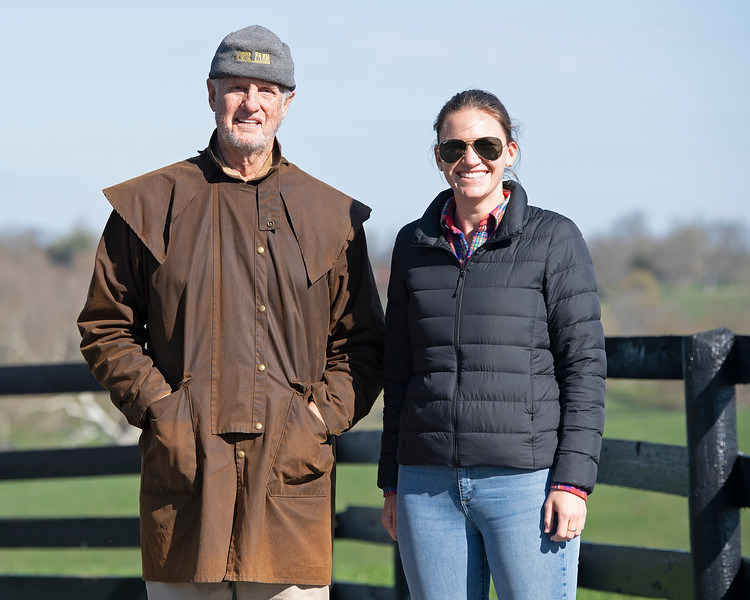 Caption: (L-R): Arthur Hancock and his daughter Lynn<br /> Broodmare of the Year Beyond the Waves (barren for 2020 and bred back to Oscar Performance in March) plus her 2019 yearling colt by Runhappy on April 3, 2020 Stone Farm in Paris, KY.