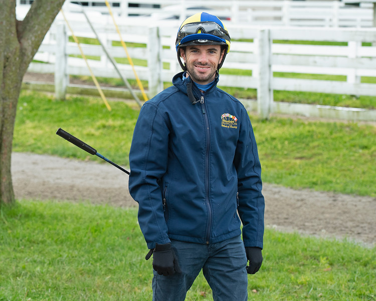 Caption: Florent Geroux<br /> Keeneland scenes and horses on April 25, 2020 Keeneland in Lexington, KY.