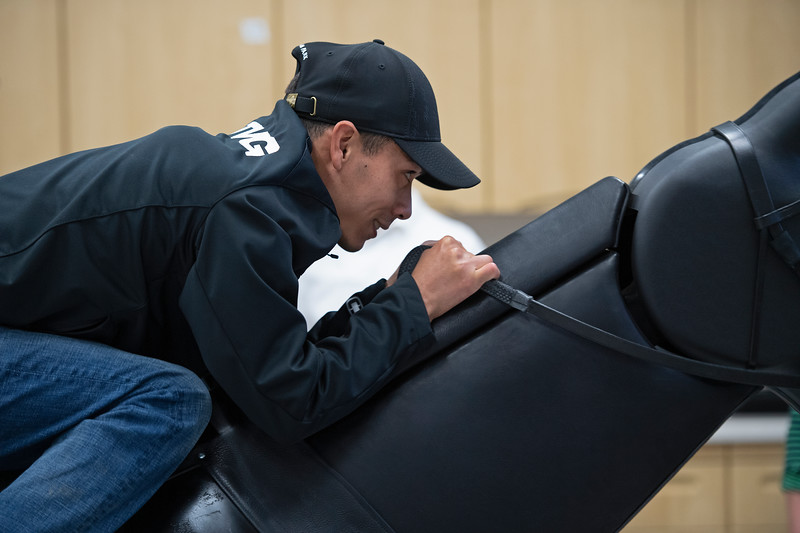 Jose Ortiz on the Racehorse Exerciser<br /> Jockey Equestrian Initiative at University of Kentucky Sports Medicine Research Institute<br />  on April 11, 2019 in Lexington, Ky.