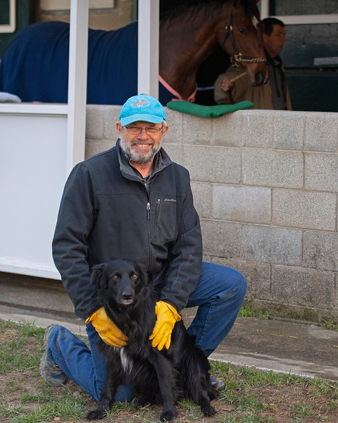 Mark Hubley with Hap at the KatieRich consignment<br /> Morning sales and racing scenes at Keeneland in Lexington, Ky., on April 4, 2019