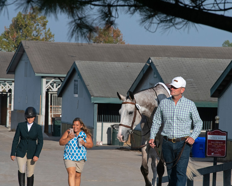 (L-R): Emile, Carisa and Ollie Figgins III with #48 Blazin Luck at <br /> Thoroughbred Makeover at the Kentucky Horse Park.