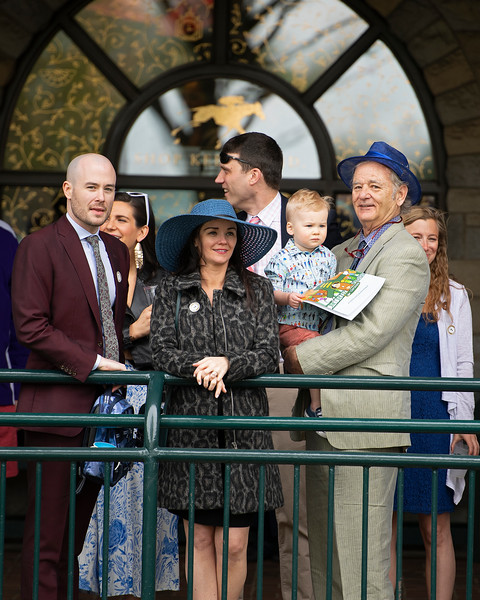 Bill Murray, on right, with his family including Luke Murray, left, daughter in law Kara Murray (blue hat) , and grandson Luke Murray (being held by Bill Murray). UL assistant Basketball coach, at Keeneland on April 12, 2019 in Lexington,  Ky.