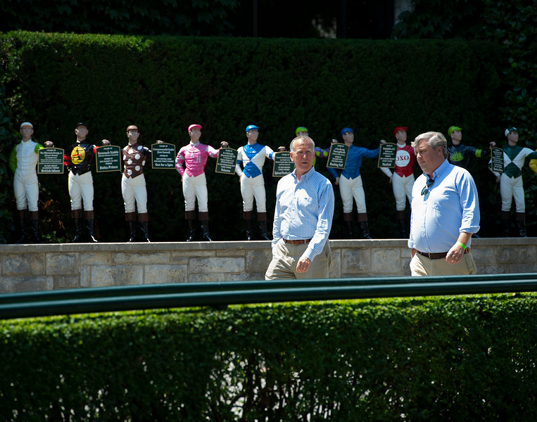 Caption: walking by the saddling area and jockey statues<br /> Drew Fleming with Bill Thomason at Keeneland in Lexington, Ky., on June 19, 2020 Keeneland in Lexington, KY.