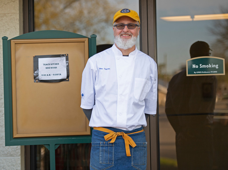 Caption: Executive Chef and Managing Director of Keeneland Hospitality, Marc Therrien outside the track kitchen. <br /> Behind the Scenes at Keeneland during Covid19 virus and the people, horses, and essentials needed to take care of race horses on April 2, 2020 Keeneland in Lexington, KY.