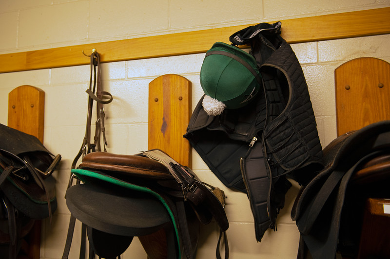 Caption: helmets, saddles, vests<br /> A native of Oklahoma, Heath started working at WinStar Farm on October 10, 2014, and became the farm trainer in October of 2018. Presently he has about 100 horses in training at the WinStar Farm training center, where they have a 7 1/2-furlong main track and 3/4 of a mile undulating turf gallop.<br /> Daily Life series on Destin Heath, farm trainer at WinStar Farm on Aug. 11, 2020 WinStar Farm in Versailles, KY.