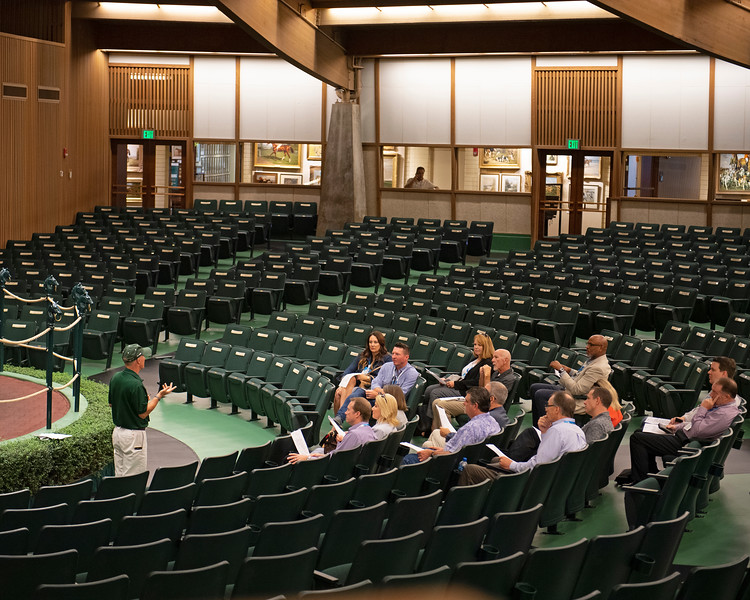 Tour group in sales pavillion<br /> at the Keeneland September sale
