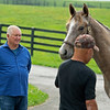 Caption: Searing looking at a yearling by Kobe's Back out of Red Velvet.<br /> Lee and Susan Searing look over their bloodstock (mares, foals, yearlings) at Springhouse Farm near Nicholasville, Ky., on June 22, 2020 Springhouse Farm in Nicholasville, KY.