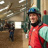Caption: Between sets at 7:27 am.<br /> A native of Oklahoma, Heath started working at WinStar Farm on October 10, 2014, and became the farm trainer in October of 2018. Presently he has about 100 horses in training at the WinStar Farm training center, where they have a 7 1/2-furlong main track and 3/4 of a mile undulating turf gallop.<br /> Daily Life series on Destin Heath, farm trainer at WinStar Farm on Aug. 11, 2020 WinStar Farm in Versailles, KY.