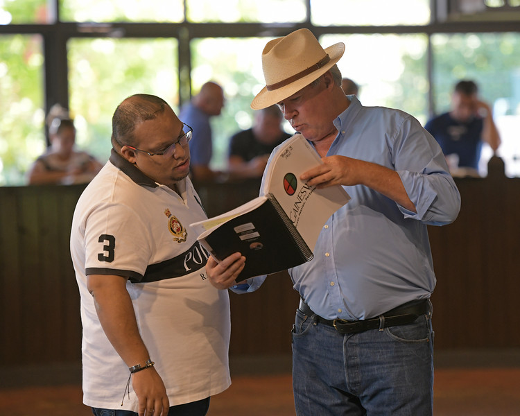 Michael Hernon showing updates <br /> at the Keeneland September sale