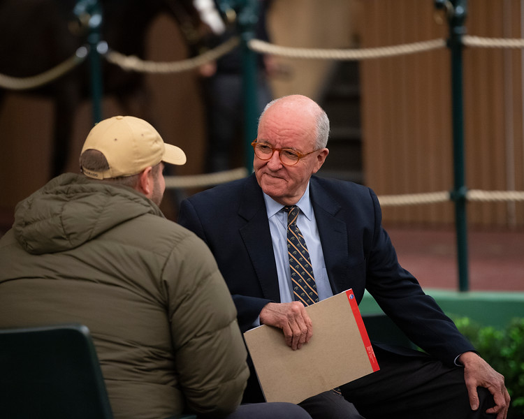 Ryan Mahan with buyer after coming off his shift on the podium<br /> Keeneland January Horses of all ages sales on<br /> Jan. 17, 2020 Keeneland in Lexington, KY.
