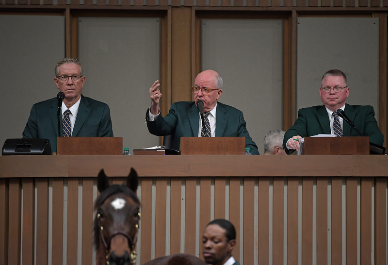 (L-R): Scott Caldwell, Ryan Mahan, and Kurt Becker.<br /> Keeneland January Horses of all ages sales on<br /> Jan. 14, 2020 Keeneland in Lexington, KY.