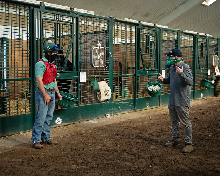 Caption: Heath, left, talks with owner Randy Gullatt. <br /> A native of Oklahoma, Heath started working at WinStar Farm on October 10, 2014, and became the farm trainer in October of 2018. Presently he has about 100 horses in training at the WinStar Farm training center, where they have a 7 1/2-furlong main track and 3/4 of a mile undulating turf gallop.<br /> Daily Life series on Destin Heath, farm trainer at WinStar Farm on Aug. 11, 2020 WinStar Farm in Versailles, KY.