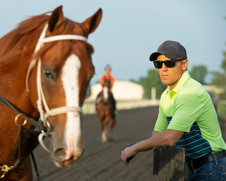 Caption:  Drury looking over trainees as they come off the track.<br /> Bruce Lunsford at Skylight Training Center with his horse Art Collector and trainer Tommy Drury on Aug. 12, 2020 Skylight Training Center in Prospect, KY.