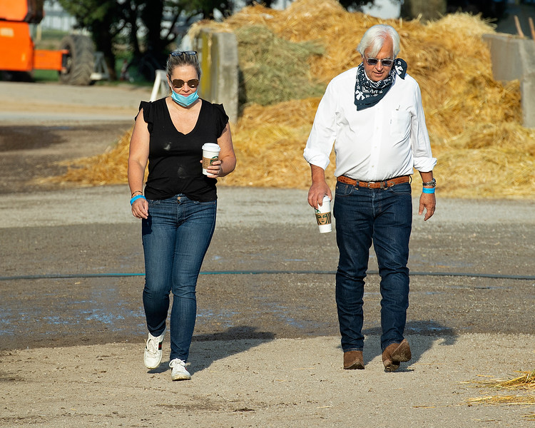 (L-R): Jill and Bob Baffert walking the barn area at Churchill. <br /> The morning after Authentic wins the Kentucky Derby (G1) at Churchill Downs, Louisville, KY on September 5, 2020.