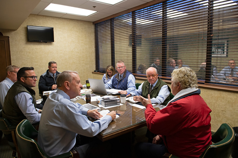Sales team meeting with consignor (L-R):  John Henderson. , Scott Hazelton, Scott Caldwell, Justin Holmberg, Gabby Gaudet, Kurt Becker, Ryan Mahan and consignor Pam Robinson with Brandywine on Jan. 13, 2020 Keeneland in Lexington, KY.