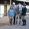 (L-R): Carisa Figgins, Ollie L. FIggins III, Blazin Luck and Emilie Figgins at<br /> Thoroughbred Makeover at the Kentucky Horse Park.