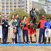 Great Winner presentation in Russia, Olga Polushkina (4th from left) and owner Ramazan Chotchaev (right of jockey).