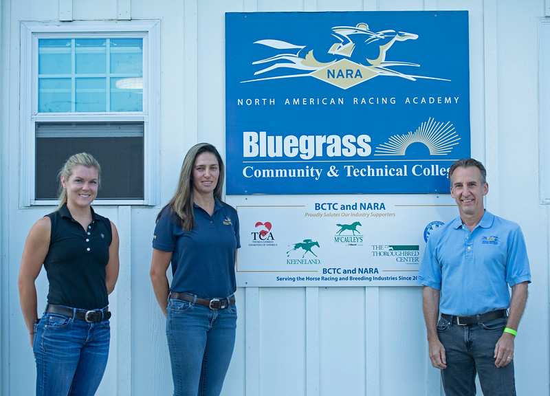 Caption: (L-R): Amy Heitzman, barn manager and instructor, Dixie Kendall, program coordinator and student advisor, and Remi Bellocq<br /> BCTC equine school and NARA in Lexington, Ky., and Thoroughbred Training Center, on July 6, 2020 BCTC in Lexington, KY.