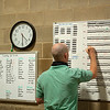 Caption:  Reviewing and making adjustments and adding information using color coded markers to the sets.<br /> A native of Oklahoma, Heath started working at WinStar Farm on October 10, 2014, and became the farm trainer in October of 2018. Presently he has about 100 horses in training at the WinStar Farm training center, where they have a 7 1/2-furlong main track and 3/4 of a mile undulating turf gallop.<br /> Daily Life series on Destin Heath, farm trainer at WinStar Farm on Aug. 11, 2020 WinStar Farm in Versailles, KY.