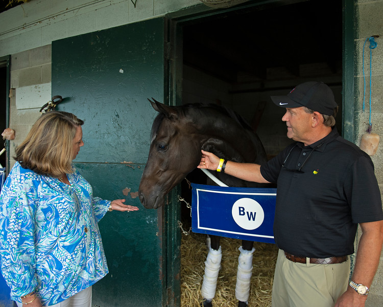 Caption:  (L-R): Anna Cambron, Queen Medb, Tim Cambron. at Brendan Walsh barn at Keeneland.<br /> Tim and Anna Cambron at Ruggles sign company in Versailles, Ky. on July 8, 2020 Ruggles in Versailles, KY.
