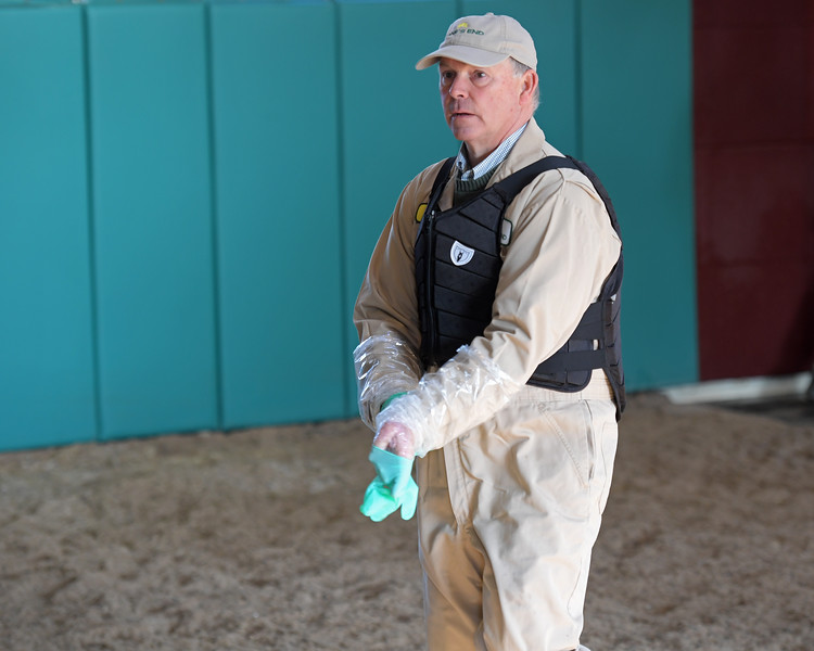 Caption: about 9:57 getting ready for final mare of first morning session. Daily Life on Billy Sellers, Lane's End Farm stallion manager who started working for the farm in 1982 and who has been their only stallion manager since 1985 when the farm acquired their first stallions, photographed on<br /> March 3, 2020 Lane's End Farm in Versailles, KY.