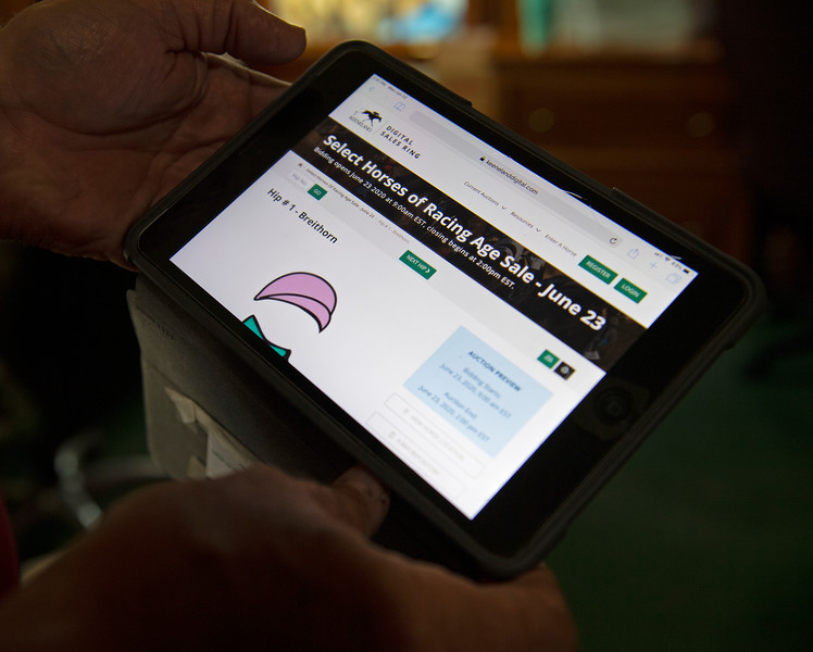Caption:  online catalog and sale<br /> Keeneland Digital Online program for the Keeneland sale in Lexington, Ky., on June 22, 2020 Keeneland in Lexington, KY.