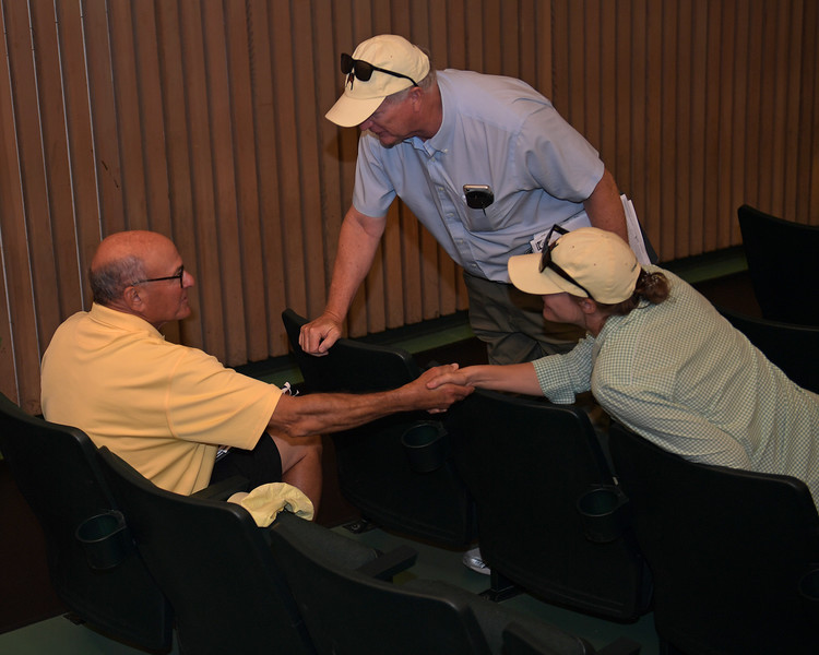 (L-R): Buyer Ric Waldman is congratulated by Henry and Anne Archer Hinkle with Hinkle Farms after Hip 1833 sells<br /> at Keeneland.