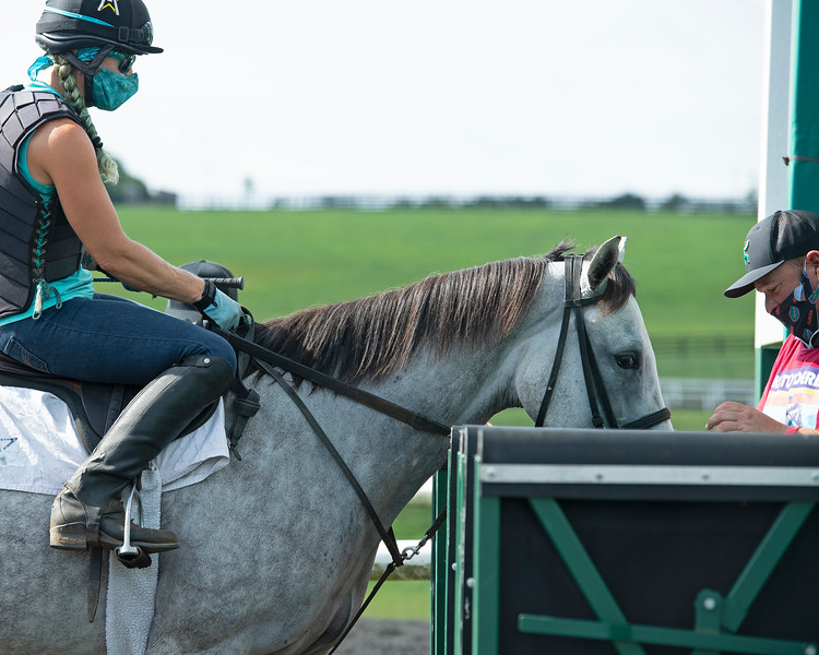 Caption: Angel Oak with exercise rider Jess Woodall at WinStar Farm on Aug. 11, 2020 WinStar Farm in Versailles, KY. Photo: Anne M. Eberhardt