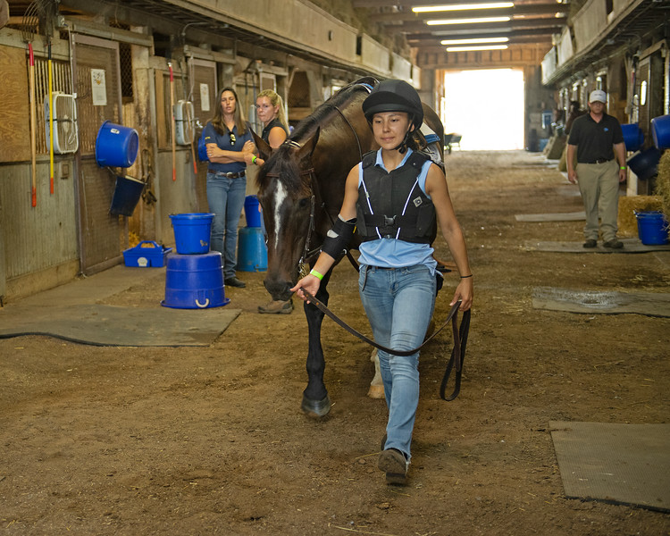 Caption: student Camille Hargrove leads her horse down the aisleway as Dixie Kendall, Amy Heitzman, and Kip Ginsburg look on.<br /> BCTC equine school and NARA in Lexington, Ky., and Thoroughbred Training Center, on July 6, 2020 BCTC in Lexington, KY.