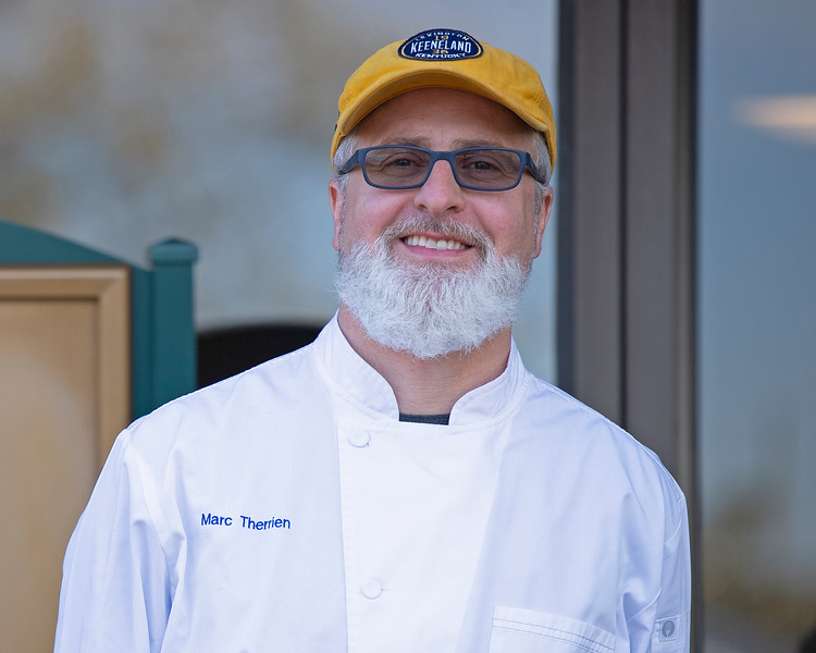 Caption: executive chef and Managing Director of Keeneland Hospitality Marc Therrien outside Track Kitchen<br /> Behind the Scenes at Keeneland during Covid19 virus and the people, horses, and essentials needed to take care of race horses on April 2, 2020 Keeneland in Lexington, KY.