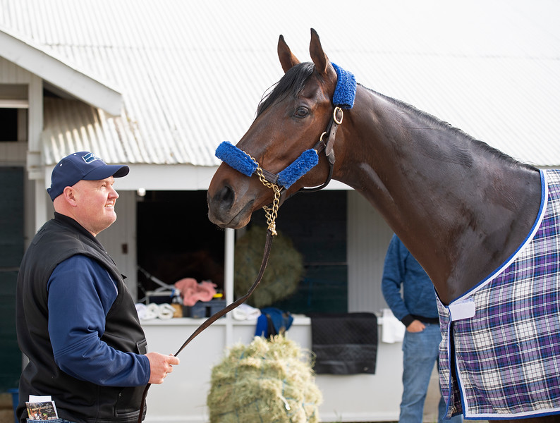 trainer Blaine Wright with Anothertwistafate.<br /> Keeneland morning scenes at Keeneland.<br /> Jockey Equestrian Initiative at University of Kentucky Sports Medicine Research Institute<br />  on April 11, 2019 in Lexington, Ky.
