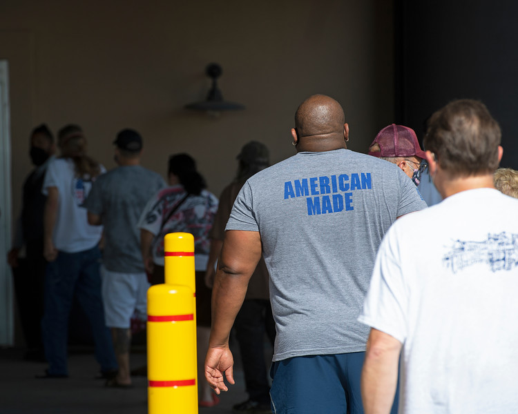 Caption:  patrons waiting for doors to open<br /> Ted Nicholson, general manager and senior Vice President at Kentucky Dpwns near Franklin, Ky. on July 28, 2020 Kentucky Downs in Franklin, KY.