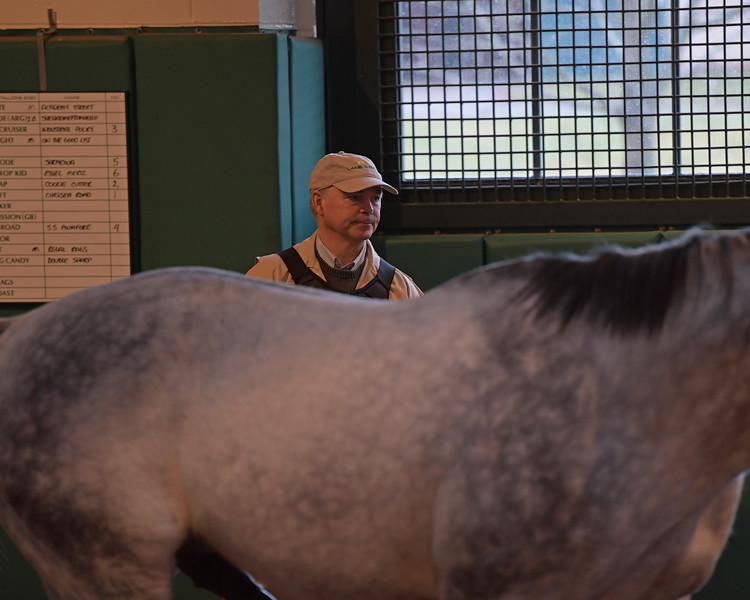 Caption: 8:05 am Continually overseeing the shed and after bringing the mare, Billy watches as Liam's Map walks toward mare Cookie Cutter. Daily Life on Billy Sellers, Lane's End Farm stallion manager who started working for the farm in 1982 and who has been their only stallion manager since 1985 when the farm acquired their first stallions, photographed on<br /> March 3, 2020 Lane's End Farm in Versailles, KY.