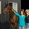 Caption: (L-R): Sisters  Mary Raidt and Eleanor Porco with Art Collector<br /> Bruce Lunsford at Skylight Training Center with his horse Art Collector and trainer Tommy Drury on Aug. 12, 2020 Skylight Training Center in Prospect, KY.