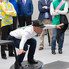 Jockey Javier Castellano demonstrates his Balance on the Bosu Ball during testing with Nick Heebner (not pictured) of UK.<br /> Keeneland morning scenes at Keeneland.<br /> Jockey Equestrian Initiative at University of Kentucky Sports Medicine Research Institute<br />  on April 11, 2019 in Lexington, Ky.