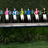 Caption: jockey statues representing major stakes winners in the silks and colors of the 2019 winners.<br /> Behind the Scenes at Keeneland during Covid19 virus and the people, horses, and essentials needed to take care of race horses on April 2, 2020 Keeneland in Lexington, KY.