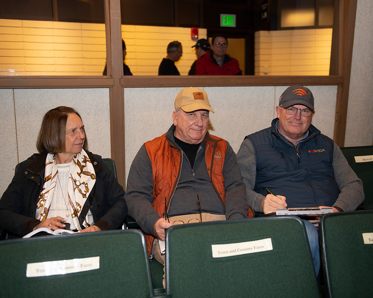 (L-R): Denise and Larry Taylor and David Hanley<br /> Hip 496 Tis Breathtaking from Eaton.<br /> Keeneland January Horses of all ages sales on<br /> Jan. 14, 2020 Keeneland in Lexington, KY.