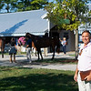 Kerry Cauthen in front of the Four Star Sales consignment and recent renovations that include new trees and roofing<br /> at the Keeneland September Sale.
