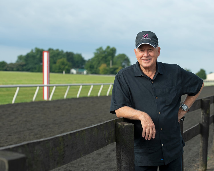 Caption: <br /> Bruce Lunsford at Skylight Training Center with his horse Art Collector and trainer Tommy Drury on Aug. 12, 2020 Skylight Training Center in Prospect, KY.