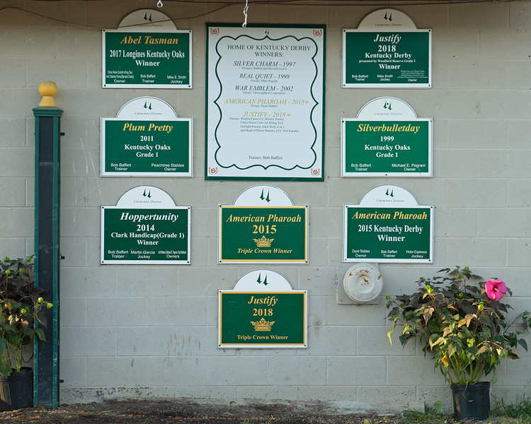 Wall outside the Bob Baffert barn<br /> The morning after Authentic wins the Kentucky Derby (G1) at Churchill Downs, Louisville, KY on September 5, 2020.