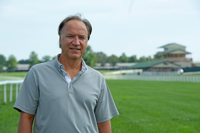 Caption: racing area in background<br /> Ted Nicholson, general manager and senior Vice President at Kentucky Dpwns near Franklin, Ky. on July 28, 2020 Kentucky Downs in Franklin, KY.