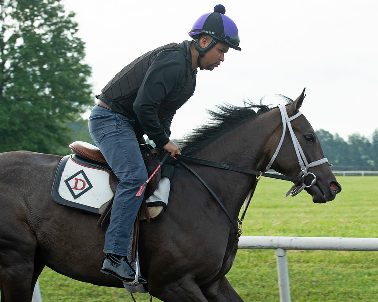 Caption: Lady Frosted<br /> Bruce Lunsford at Skylight Training Center with his horse Lady Frosted and trainer Tommy Drury on Aug. 12, 2020 Skylight Training Center in Prospect, KY.