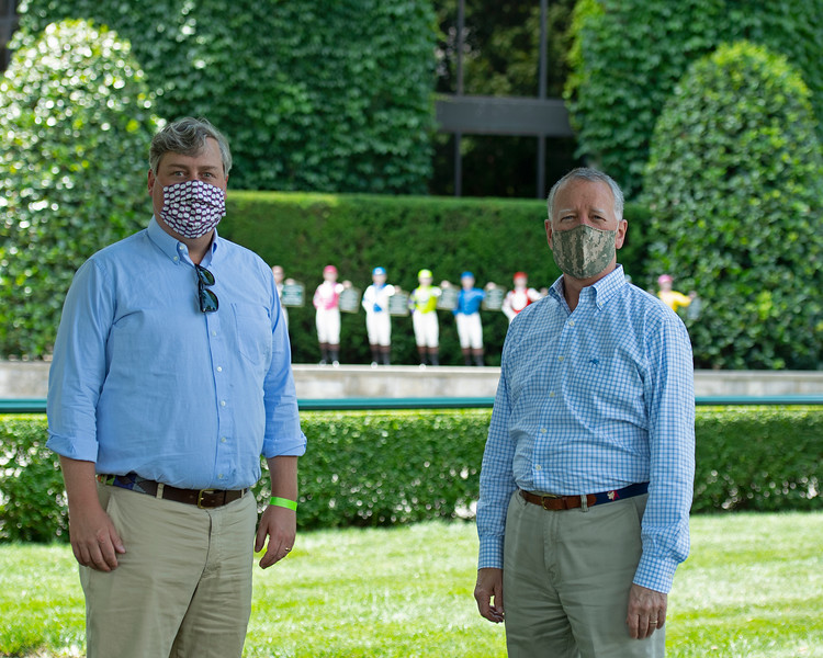 Caption:<br /> Drew Fleming (left) with Bill Thomason at Keeneland in Lexington, Ky., on June 19, 2020 Keeneland in Lexington, KY.